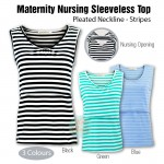 Maternity Nursing Top - Pleated Neckline - Stripes - Sleeveless